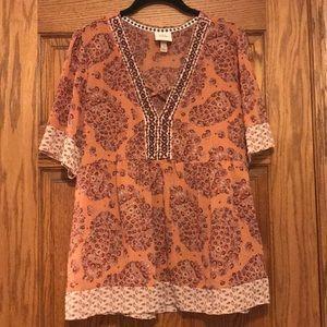 Short Sleeve Blouse- Beautiful Paisley Pattern